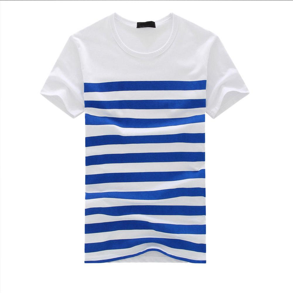 MISSKY Women Men Lovers  Tshirt Summer White Color Casual Stripe Printed Short Sleeve Round Collar T-shirt Male Female Tops