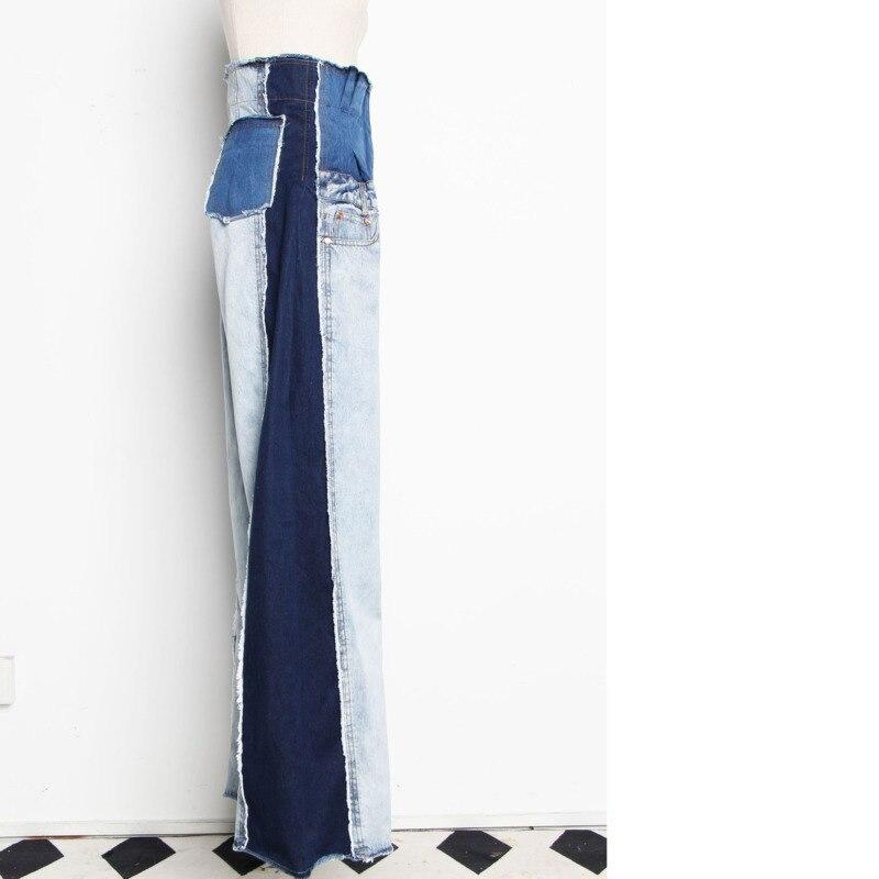 [DEAT] 2019 New Autumn Winter High Waist Loose Hit Color Denim Pocket Blue Long Wide Leg Jeans Women Trousers Fashion Tide JR84-in Jeans from Women's Clothing    3