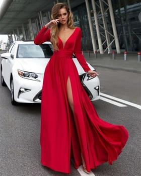 ae3f54d0ff0 Для женщин Демисезонный с длинным рукавом сексуальное нижнее белье с глубоким  v-образным вырезом летнее платье макси с большим Разрезом Пла..