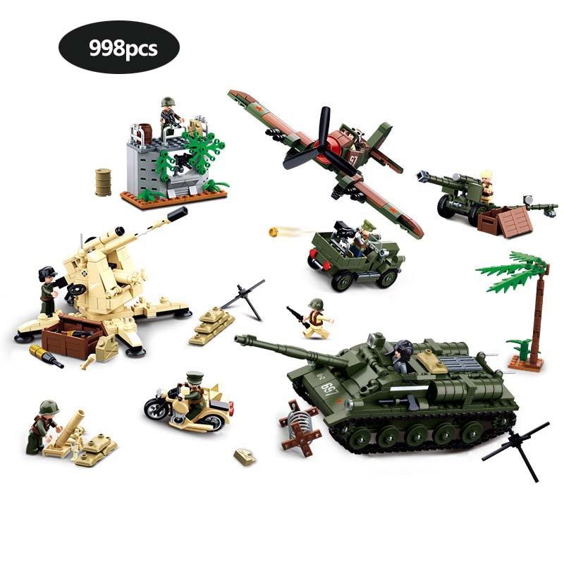 998 Piece Military Series WW2 Sowjetunion Deutschland Schlacht von Kursk Bausteine Armeesoldaten Actionfiguren Spielzeug für Kinder Geschenke