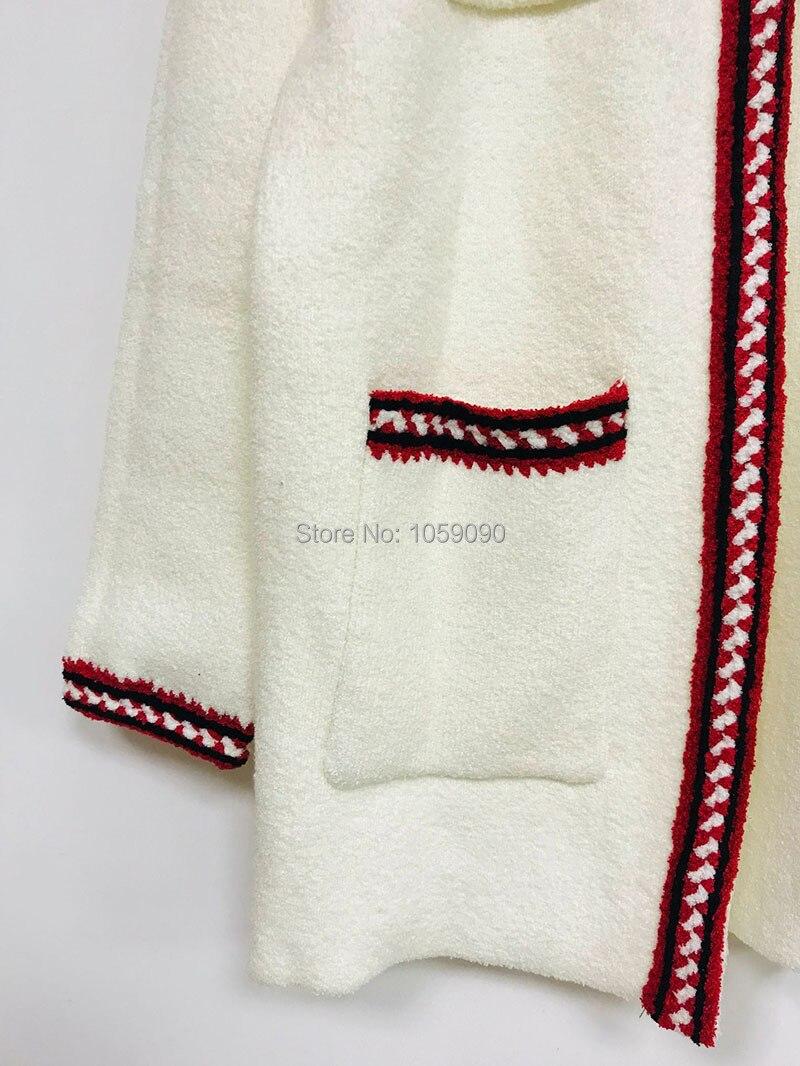Tricot Blanc Spéciale Contraste Offre Col Femme Quatre Avant Manches Cardigan Veste Longues Poches Rond En Nouvelle À Tuyauterie 2019 CCqxnwr5U