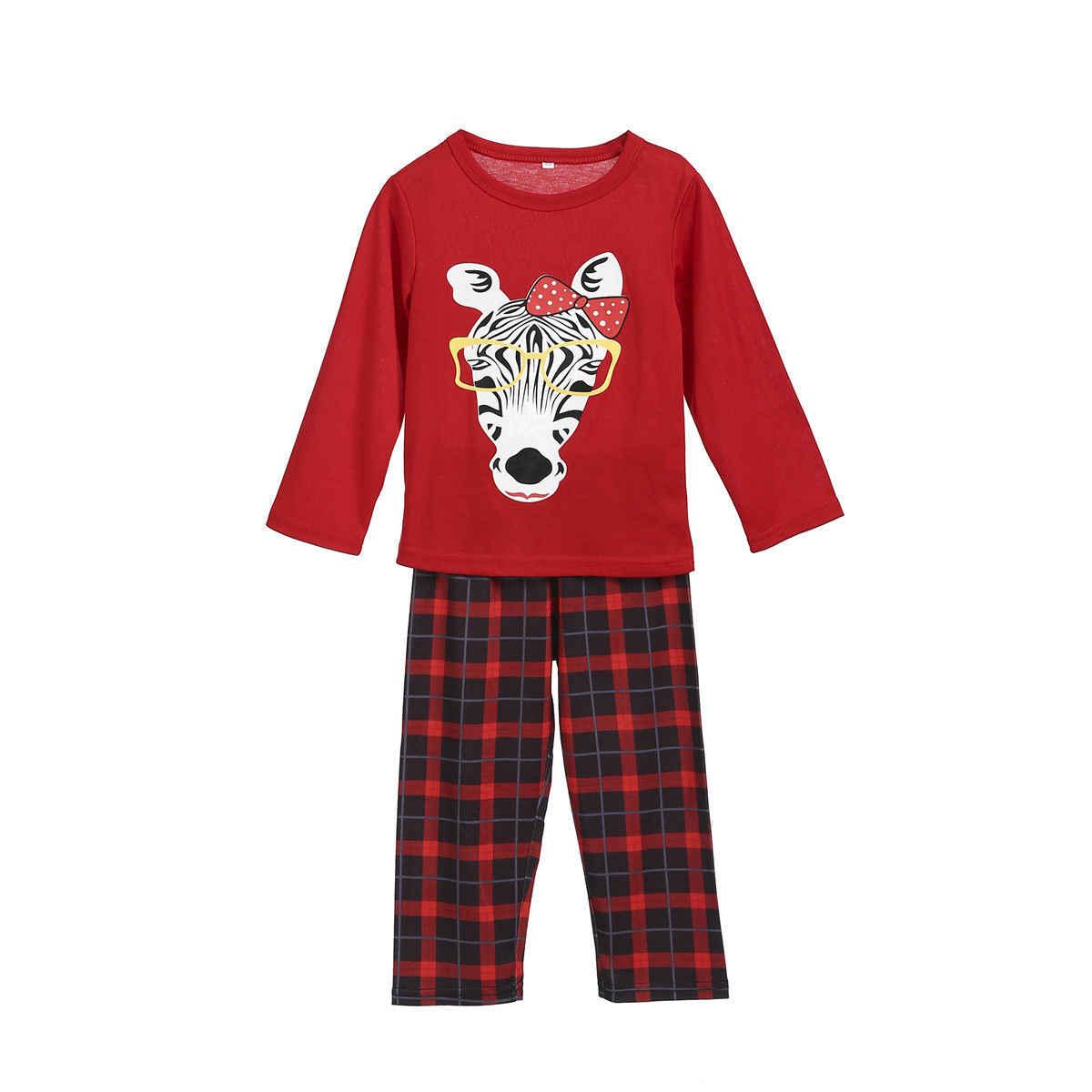 9168582981 ... Xmas Family Pajamas Set Mom Kids Nightwear Christmas Zebra Print Plaid  pants PJ s Sleepwear
