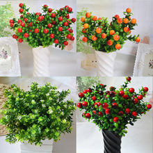 Artificial Flower Green Leaves Bouquet Fake Plastic Plants for Home Wedding Decoration Party Supplies
