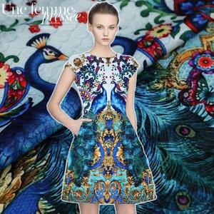 95*140CM/pcs Phoenix digital painting jacquard brocade plush fabric for dress coat cheap fabrics tissu au meter shabby chic DIY