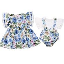 Одинаковые комплекты для семьи; костюм для сестер для маленьких девочек; платье с оборками и цветочным рисунком; топ; комбинезон; шорты