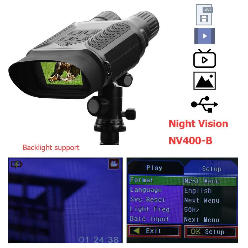 USB AV TV Infrared Night Vision Photo Video 3X Double Lens Binocular Telescope Support 32GB Memory
