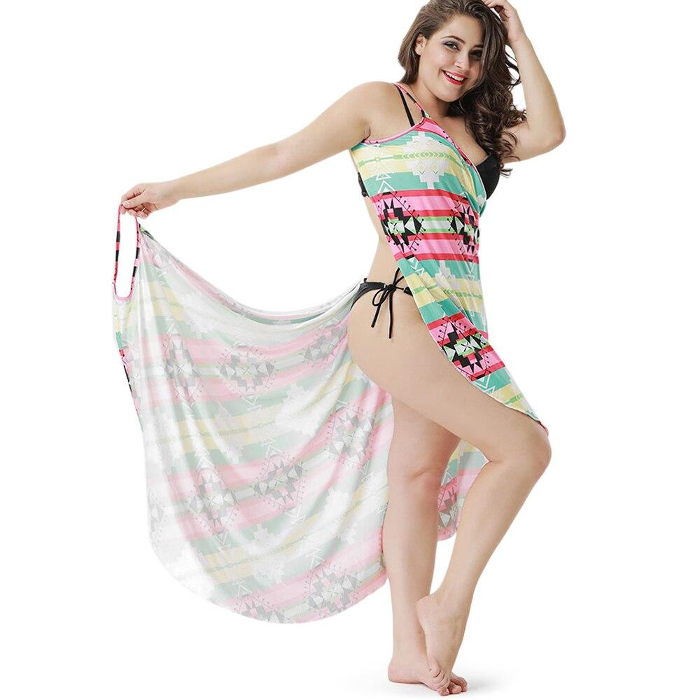 e097c79da2eab9 Wipalo kobiety Plus rozmiar 5XL geometryczny wzór Wrap Cover Up Beach Dress  2019 moda panie lato