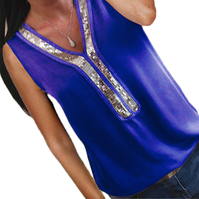 Tank-Tops Top-Tank T-Shirt V-Neck Sequin-Patchwork Sexy Plus-Size Womens Summer Ladies
