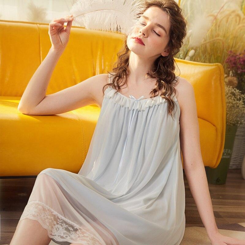 Nightwear Sleeveless   Nightgown   Lace Nighty Summer Women 2019 Sweet Woman   Sleepshirts   Sleepwear