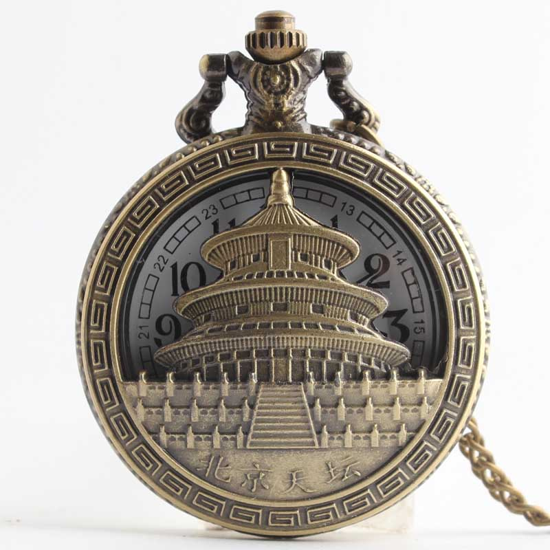 Permalink to Pocket & Fob Watches  The Temple of Heaven in Beijing  Quartz Pocket Watch Pendant Chain Necklace for Women/Men Watch Gift