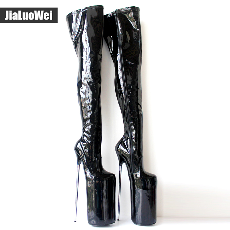 0b10cc3a8e US $213.2 35% OFF|Aliexpress.com : Buy Women Boots Handmade Shoes 30CM  Extreme High Heel +20CM Platform Fetish Sexy Metal Heels Lace up Patent  Leather ...
