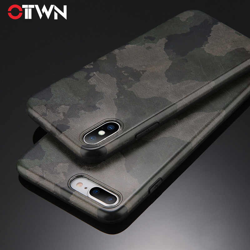 fe6fb4e379 Ottwn Camouflage Case For iPhone X 7 8 6 6S Plus Phone Cases Army Green Soft