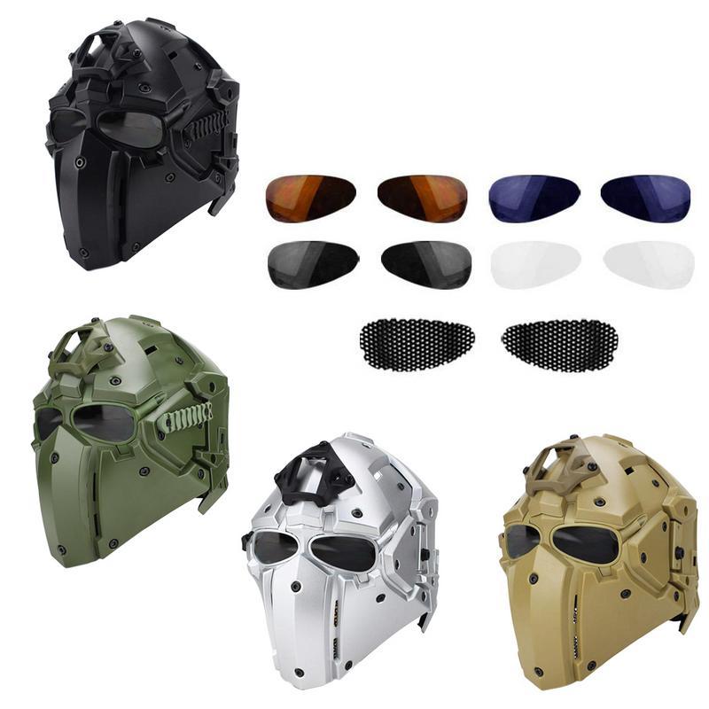 Открытый езда шлем маска Integrated глава обертывание шлем полный защитную маску шлем с 4 пары козырек очки для охоты