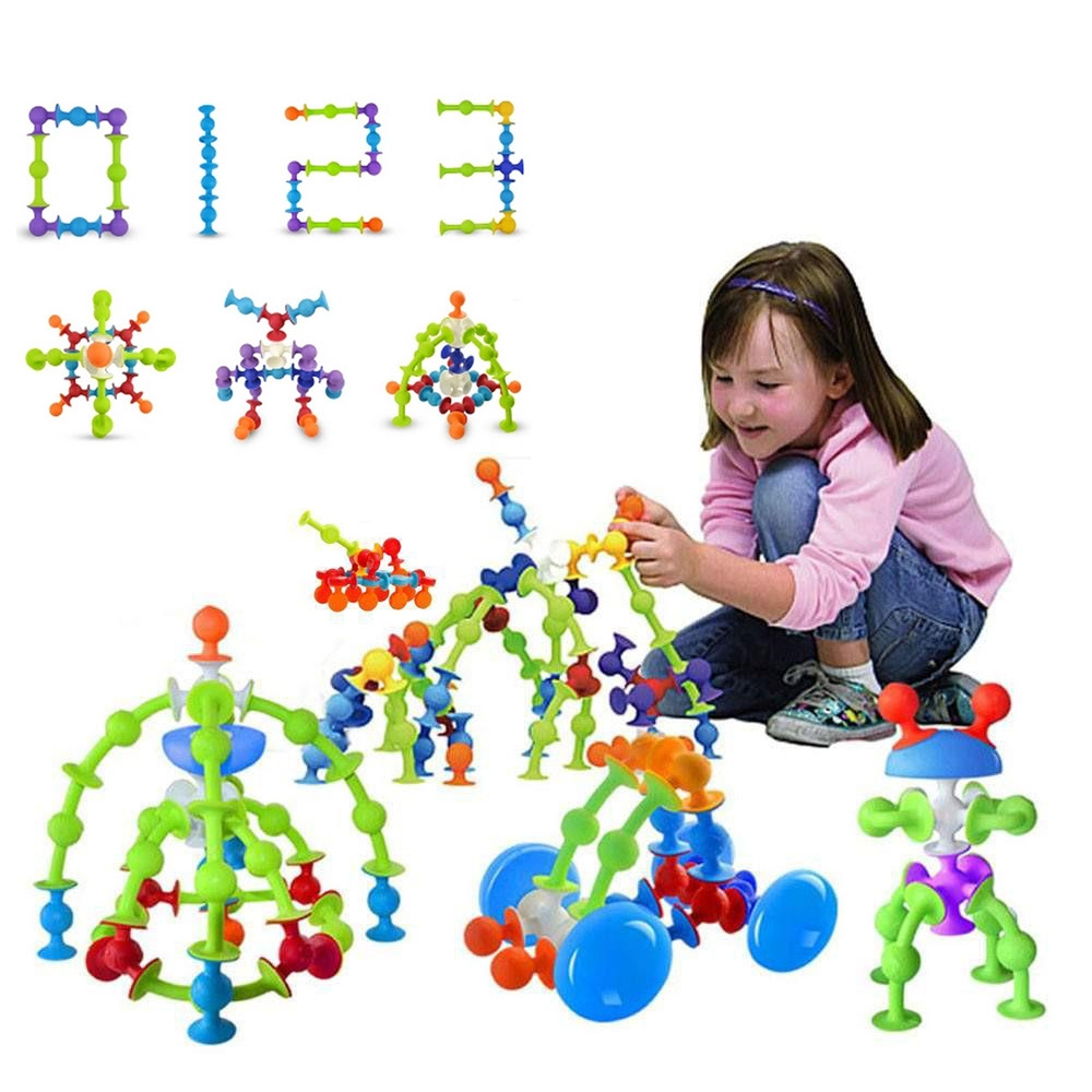 DIY Silicone Building Blocks Sucker Cup Toys Assembled Sucker Suction Cup Building Blocks Educational Construction Squigz Toy zxs sucker toys educational oogi figure 2pcs set bule