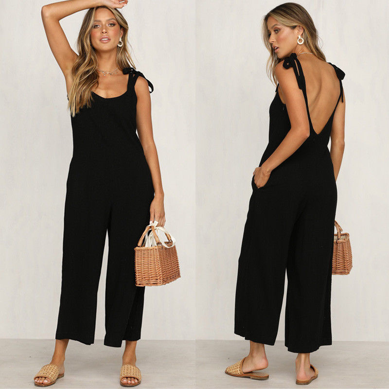 Womens Backless   Jumpsuit   Playsuit women solid sleeveless sexy Loose Long   jumpsuit   Trousers