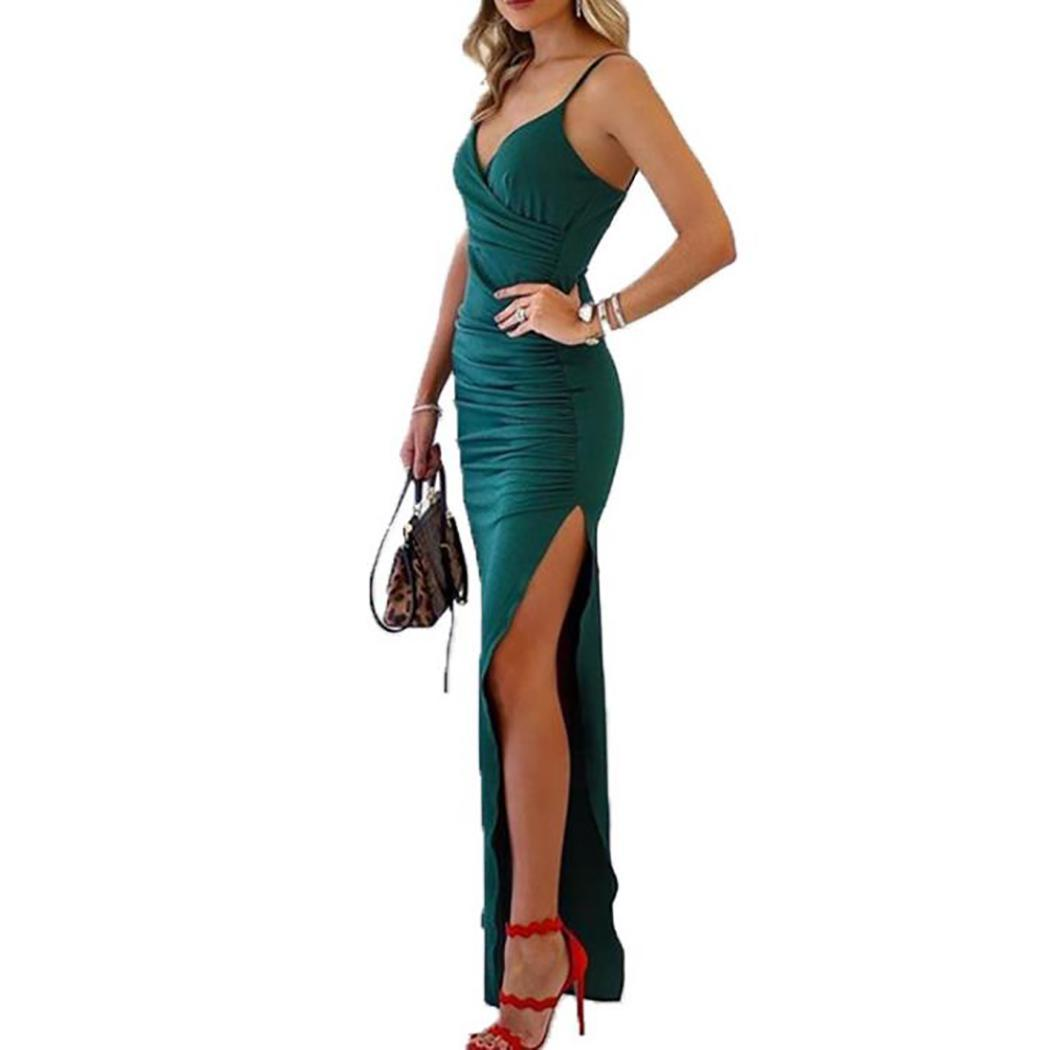 AL'OFA Women Sexy   Cocktail     Dress   Sleeveless Strap Party Gowns   Dresses   Sling Side Slit Banquet   Cocktail     Dresses   Long Vestidos