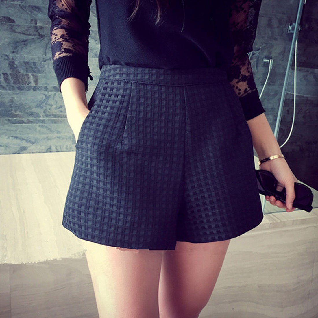 New Summer Style Fashion Casual High Waist Shorts Black Gray White Casual Vintage Women Short S 4XL Wide Leg Shorts in Shorts from Women 39 s Clothing