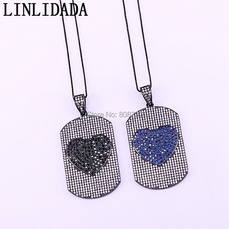 5Pcs Fashion Copper CZ Rectangle with Lovely Heart Pattern Pendant Micro Paved Cubic Zirconia Necklace For