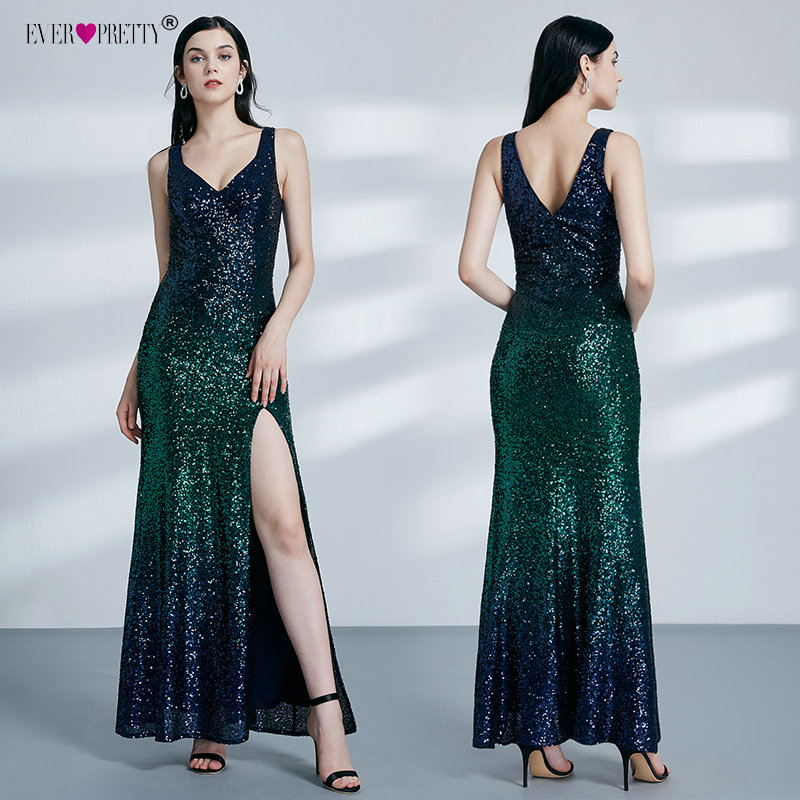 Image 5 - Ever Pretty Gold Prom Dresses V neck Sleeveless Mermaid Sparkle Long Party Gowns 2019 Women's Sexy Sequined Vestidos De Gala-in Prom Dresses from Weddings & Events