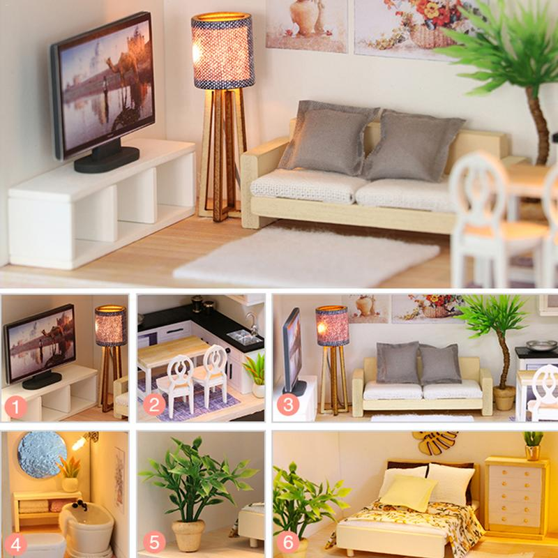 US $22.4 37% OFF Duplex Apartment With Mini Furniture LED DIY Mini Doll  House Fresh And Elegant Mini Villa For Children\'s Creative Gifts-in Doll ...