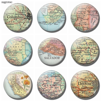 Detroit Poland California El Salvador Asheville Mississippi Kenya South Africa Columbus Ohio Map Souvenir Fridge Magnet Stickers image