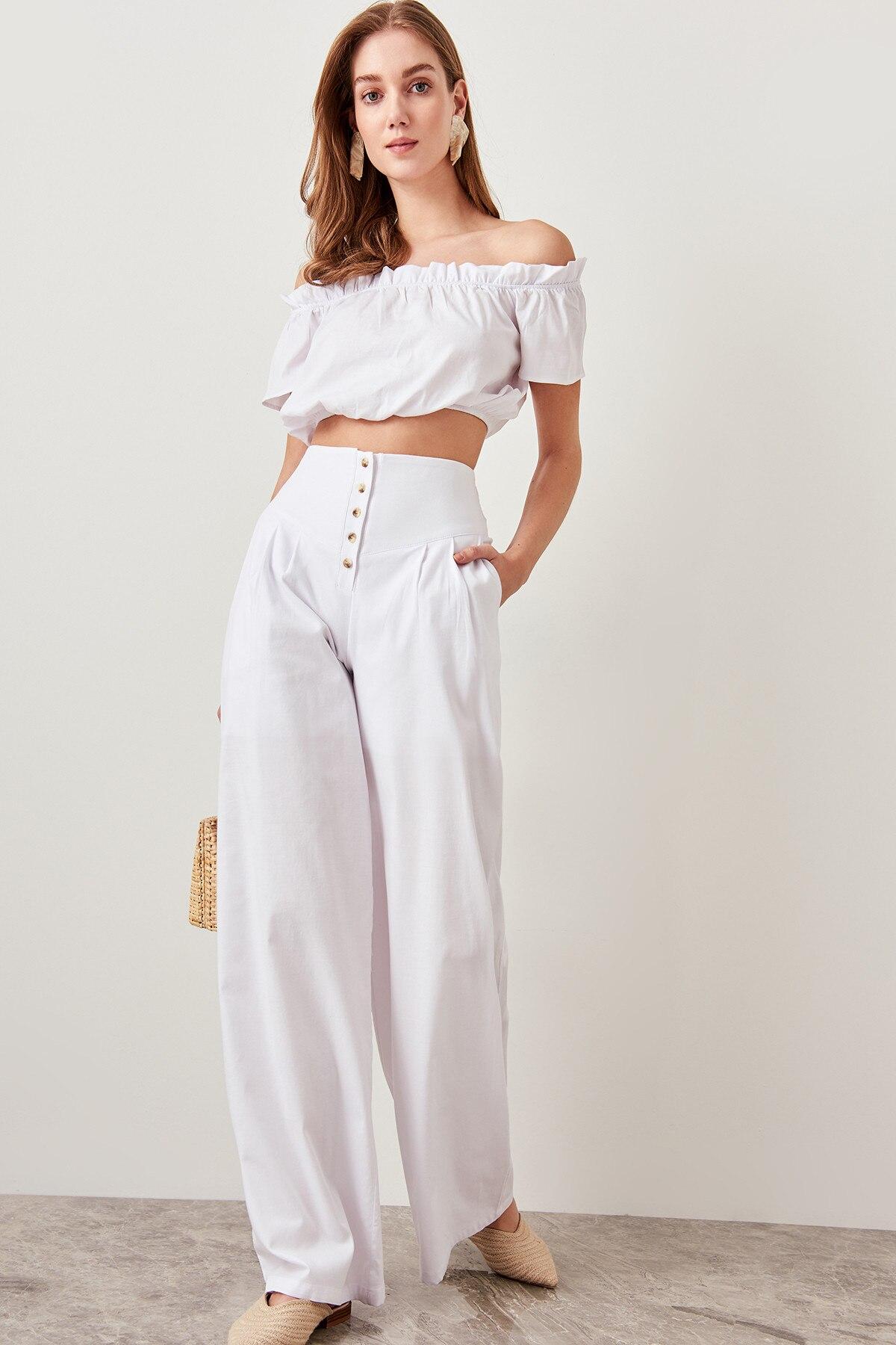 Trendyol Detailed Plenty Leg Pants White Button TWOSS19EH0056