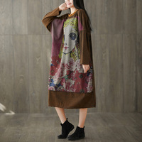 Plus Size Knitted cowboy Bat Sleeve Maxi Dress Japan style Cartoon Printed Dress Female Cute Oversized Baggy Long Pullovers