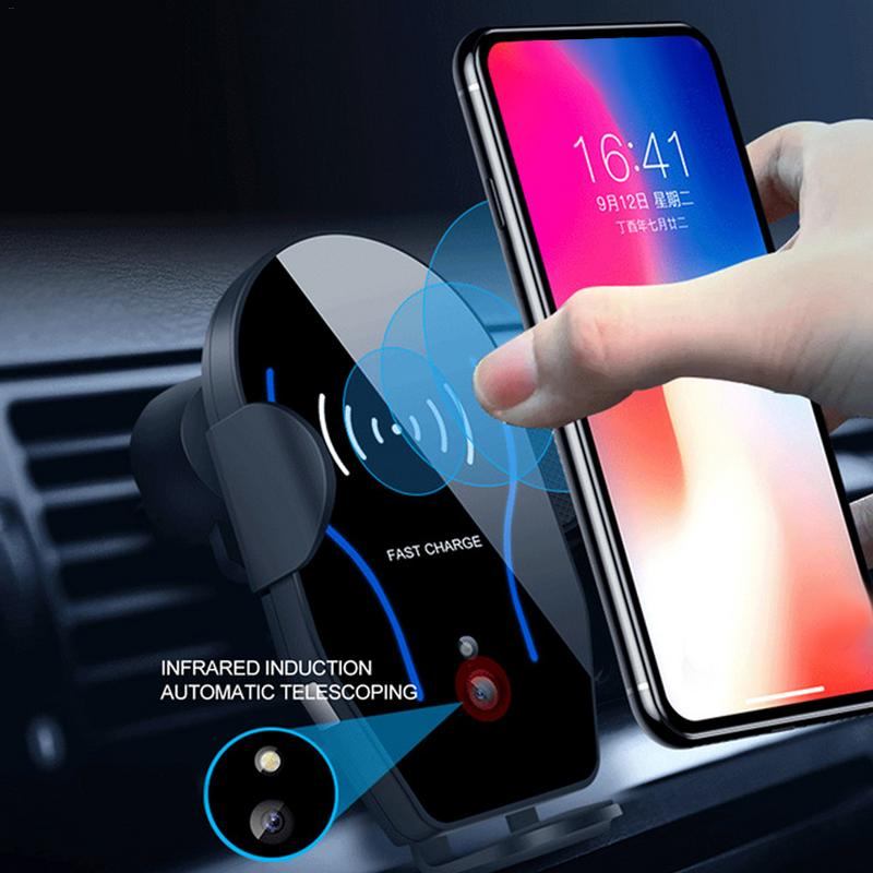 Car Phone Charger Bracket For IPhone XS X XR 8, Samsung Galaxy Note 9/S9+/S9/S8 Wireless Charging Mobile Phone Holder