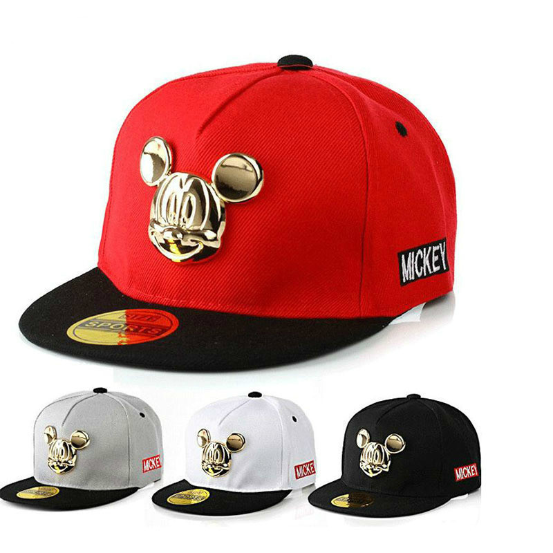2019 Spring Summer Gorras 100%cotton Pu Leather Baseball Cap Children's Baby Hip-hop Hat Boys Girls Snapback Cartoon Mickey Caps(China)