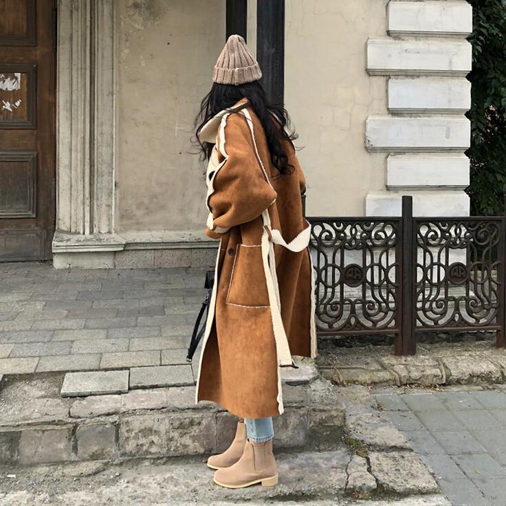 Poches Style En Longues À Boutonnage Revers Black Manteau De ewq Manches Ac96801 2019 Hiver Patchwork Double Nouveau Automne Casual Femmes Daim brown Mode YzqO4