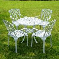 Set 5pcs Балконная мебель из литого алюминия с высокой спинкой и круглым столом 31 дюймов сверхмощный с отверстием для зонта