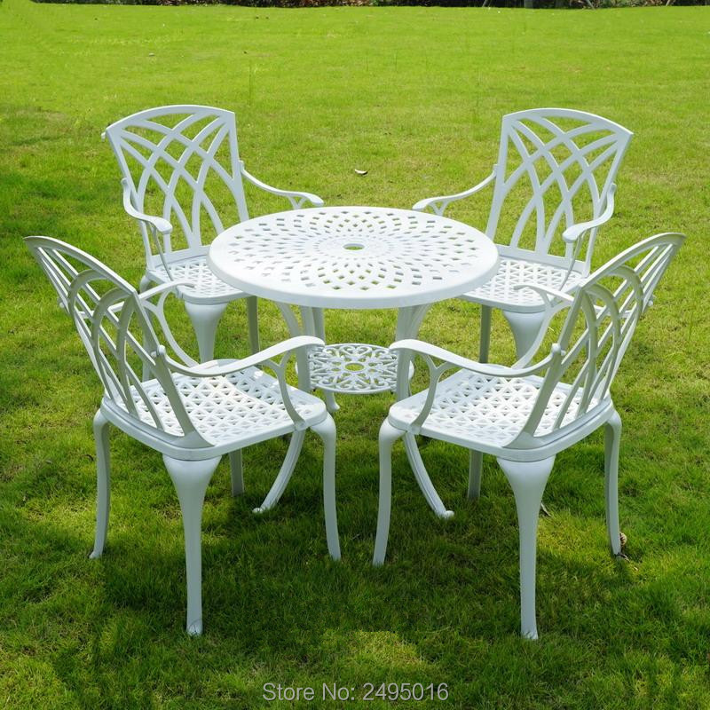 Set-5pcs Balcony  Furniture Cast Aluminum High-back Arm Chair And Round Table 31inch Heavy Duty With Umbrella Hole