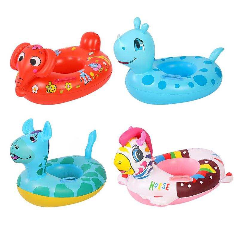 Cute Cartoon Animal Kids Inflatable Swimmming Seat Kids Safety Swimming Ring Water Fun Pool Toys Aid Trainer Beach Float Boat