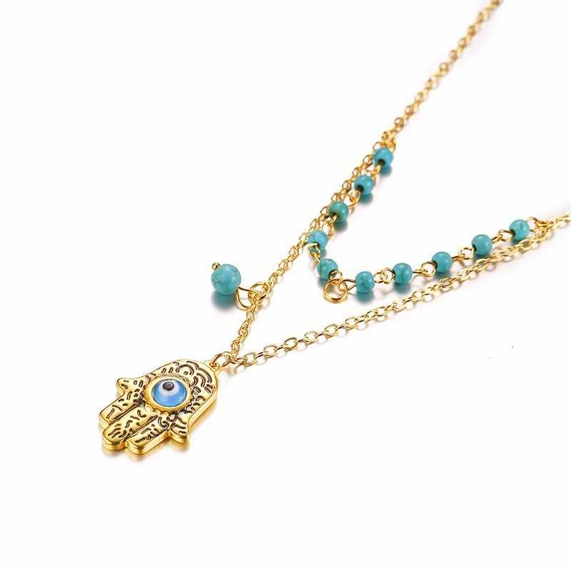 Charm Women Necklace Fatima Hand Blue Eye Pendant Nature Stone Beads Chain Link In Gold Color Trendy Jewelry