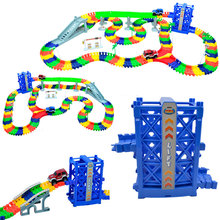цены 2019 New Puzzle Toys Miraculous Race Track Bend Magical Flexible Racing Track Set DIY Track Educational Rail toys for boys