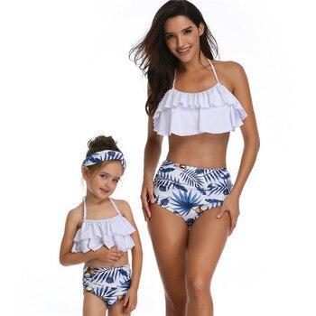 553d3aab0e Trajes de baño madre hija 2019 familia juego hojas estampado trajes de baño  mamá e hija playa Sexy Bikini ropa vacaciones