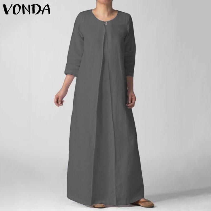 VONDA 2019 сезон: весна-лето платье пляжный длинный макси семь рукав Винтаж О образным вырезом боты свободные платья Плюс размеры черный Vestidos