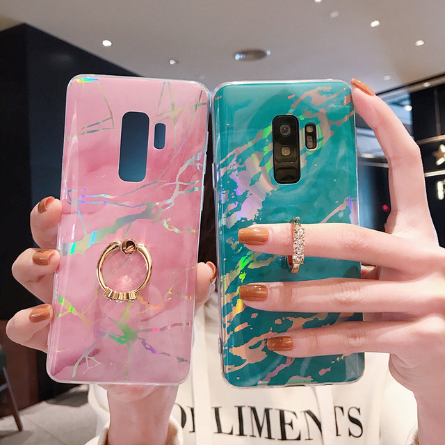 For Samsung S9 Plus Case Luxury Marble Ring Holder Phone Case Cover for Samsung S7 S8 S10 Plus S10E Etui Note 8 Note 9 TPU Coque