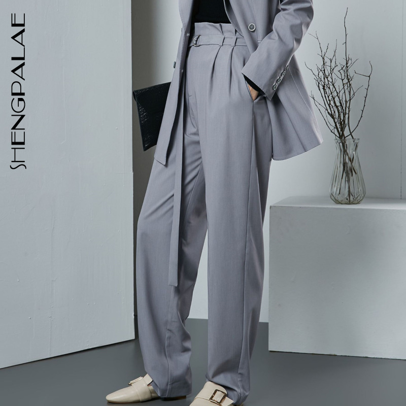 SHENGPALAE 2019 New Fashion Loose Sashes Simple   Wide     Leg     Pants   Vintage Women Hot Sale spring Casual Personality Bottoms BD142