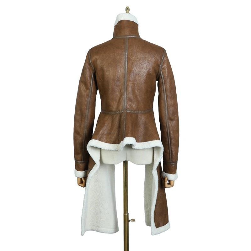 Manches Irrégulière Nouvelle Lambwool Longues Printemps Brun Spliced Femme Manteau Le090 Zipper Brown Pied 2019 eam Col Couleur À Imitation ZWgn4A40