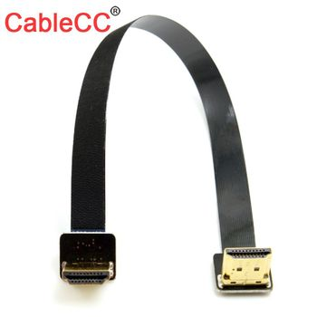10pcs/lot CY  CYFPV Dual Up Angled 90 HDMI Type A Male to Male HDTV FPCCable 50cm for FPV HDTV