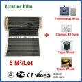 TF инфракрасная напольная нагревательная пленка 5 квадратных метров, 220 В электрическая напольная нагревательная пленка с термостатом и тем...