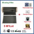 TF a raggi infrarossi riscaldamento a pavimento film di 5 metri quadrati, 220 V a pavimento elettrico film di riscaldamento con termostato e temperatura sesor