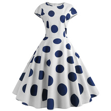 цена на 60s Vintage Short Sleeve Round Neck Polka Dot Print Empire Skater Dress Elegant Women's High Waist Pleated A Line Midi Dresses