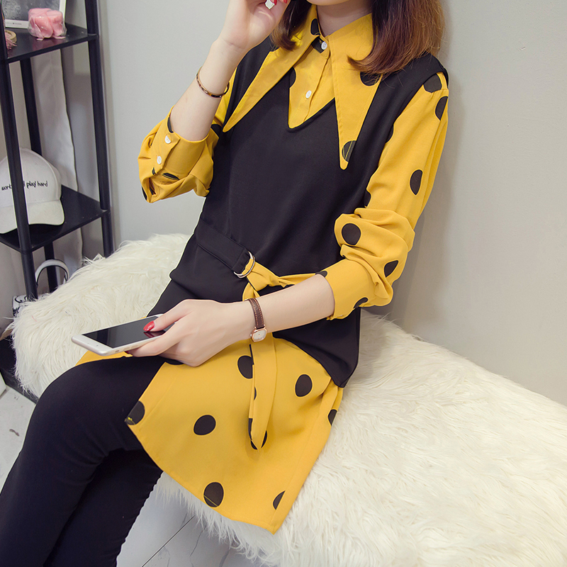 XL-5XL Plus Size Women Tops Autumn 2018 Vintage Polka Dot Print Long Sleeve Yellow Shirts and Knitted Vest Two Piece Set 2