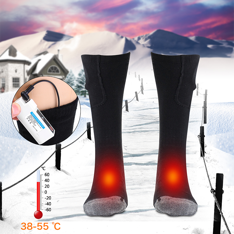 1Pair 5-9h Keep Warm Winter Socks Men Women 3.7v 2200mah Rechargeable Battery Heated Socks Electric Feet Warmers Leg Warmer