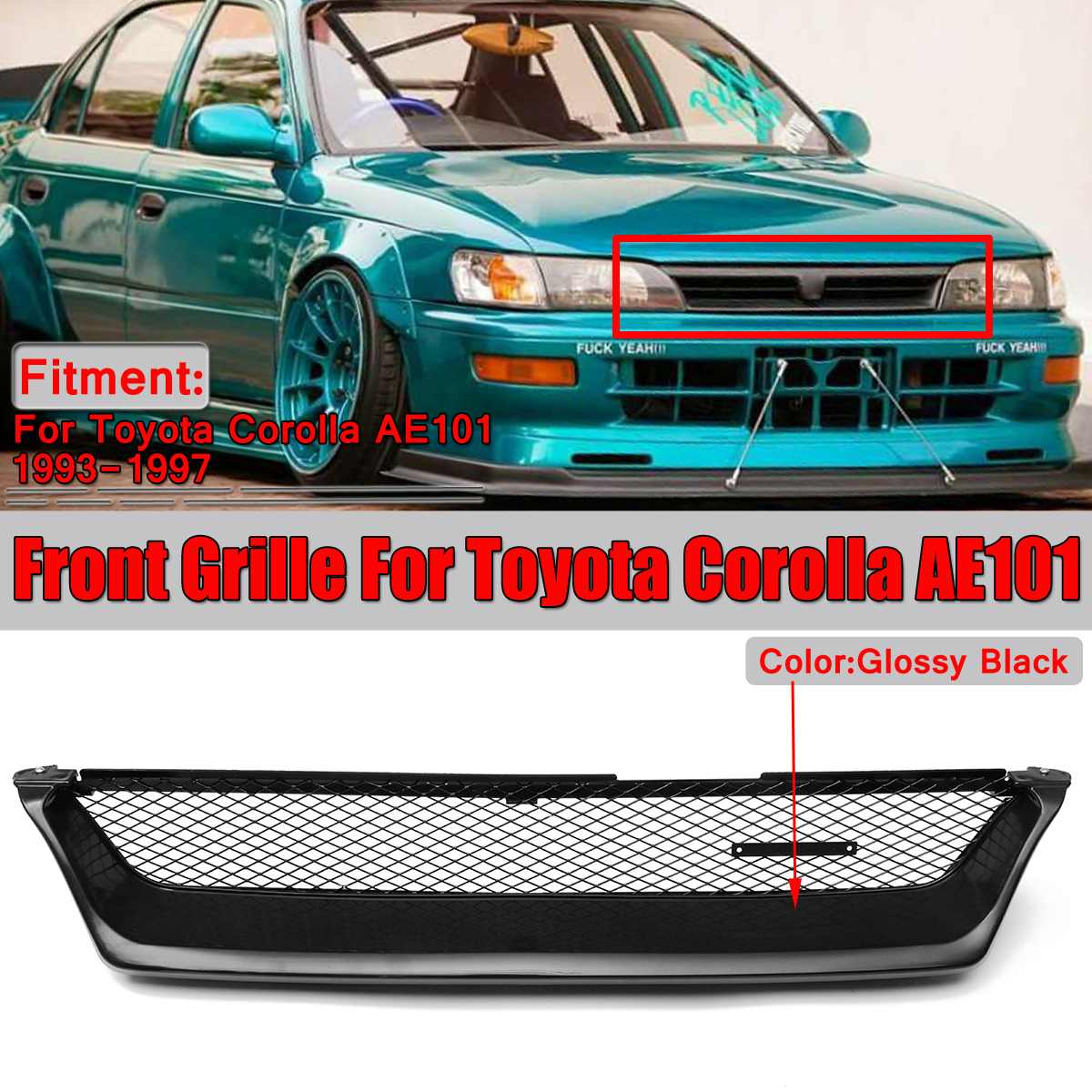 AE101 Grill Glossy Black Car Front Grille Grill Touring Wagon Style For Toyota Corolla AE101 1993-1997 Racing GrillsAE101 Grill Glossy Black Car Front Grille Grill Touring Wagon Style For Toyota Corolla AE101 1993-1997 Racing Grills