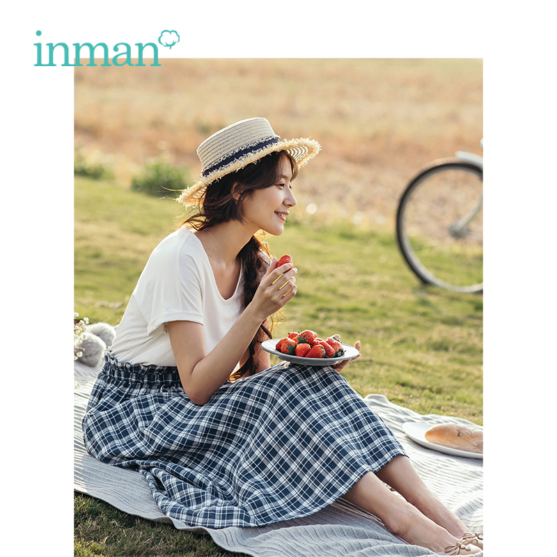 INMAN Summer New Arrival V-neck Short Sleeve Splicing Plaid Women Long Dress