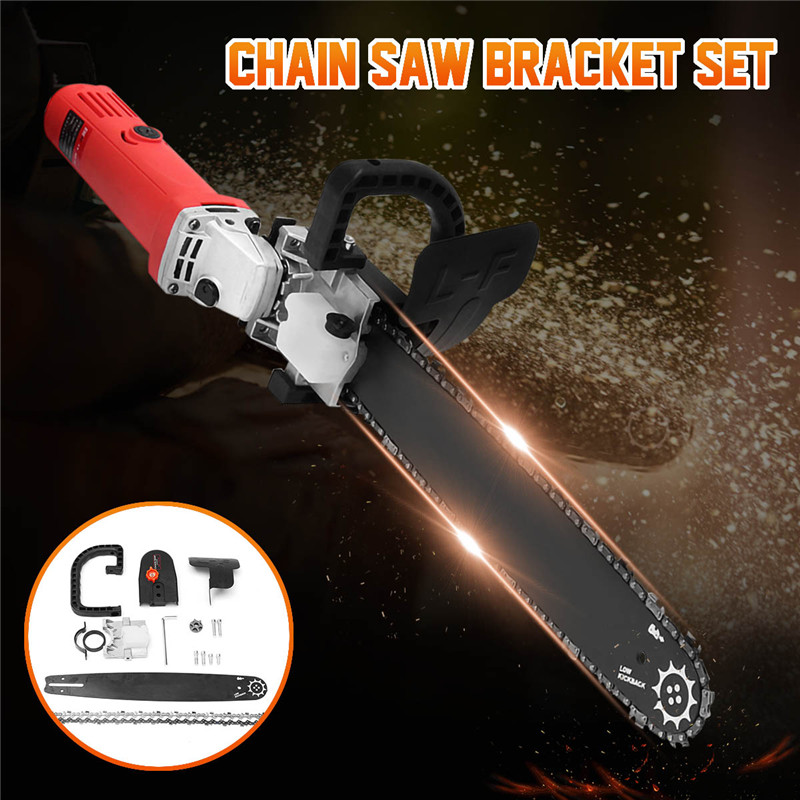 New Upgrade Electric Saw Parts 16 Inch M10 Chainsaw Bracket Changed 100 Angle Grinder Into Chain Saw For Woodworking