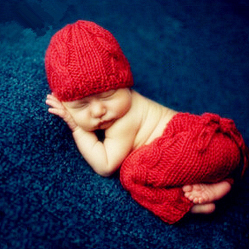 Baby Photography Props Accessories Baby Girl Crochet Knit Costume Hat+Pants Set Newborn Photo Props Studio Baby Photo Accessory